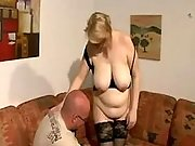 Blonde pregnant milf licked by man