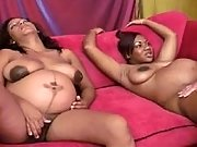 Preggy ebony sluts get cum by guys